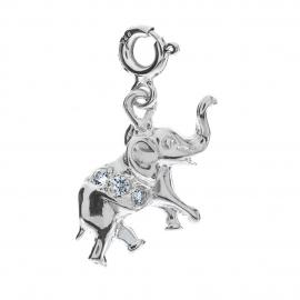 Srebrny słonik charmszdobiony cyrkoniami