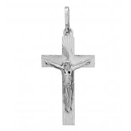 SREBRNY KRZYŻYK Z JEZUSEM DIAMENTOWANY PR. 925 + GRAWER GRATIS!