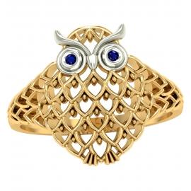 Złoty pierścionek SOWA z szafirami pr. 585