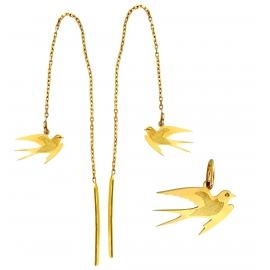 Wisiorek i kolczyki JASKÓŁKI przeciągane przez ucho ze złota próby 585