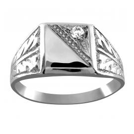 Srebrny sygnet z ornamentami i cyrkonią