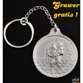 SREBRNY BRELOK DO KLUCZY Z ŚWIĘTYM KRZYSZTOFEM PR. 925 + GRAWER GRATIS